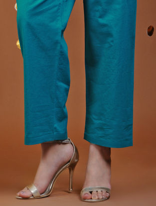 Blue Tie-Up Waist Cotton Pants
