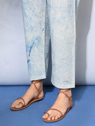 Ivory-Indigo Tie-up Waist Dabu-Printed Cotton Pants