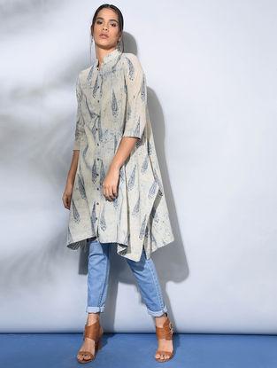 Ivory-Indigo Dabu-Printed Front-open Cotton Kurta