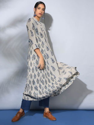 Ivory-Indigo Dabu-Printed Cotton Kurta