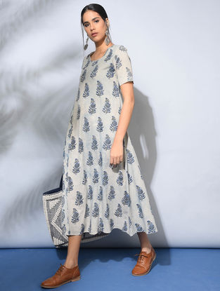 Ivory-Indigo Dabu-Printed Flared Cotton Dress with Pockets Dress