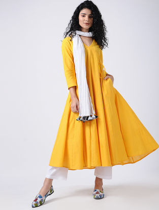 Yellow Cotton Kurta with Tassel detail