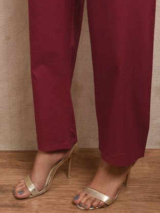 Red Tie-up Waist Cotton Pants