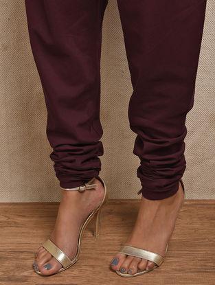 Maroon Elasticated-waist Cotton Churidar
