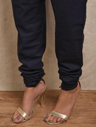 Blue Elasticated-waist Cotton Churidar