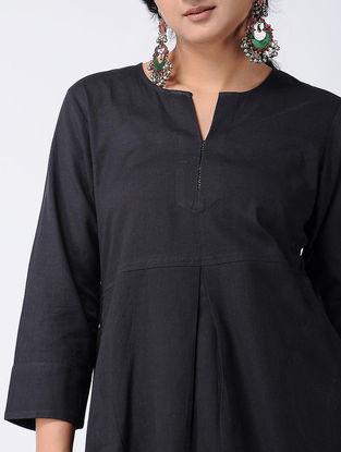 Black Cotton Kurta with Pockets
