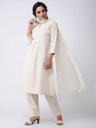 Ivory Cotton Kurta with Pockets