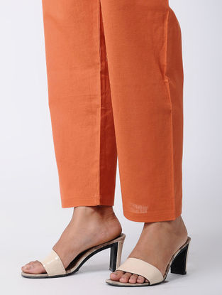 Orange Tie-up Waist Cotton Pants