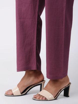 Wine Tie-up Waist Cotton Pants