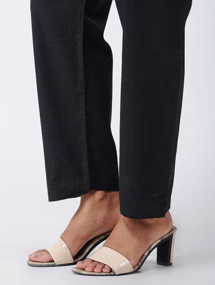 Black Tie-up Waist Cotton Pants