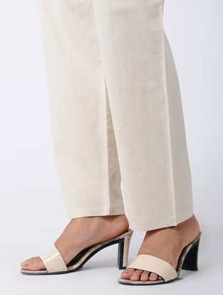 Ivory Tie-up Waist Cotton Pants