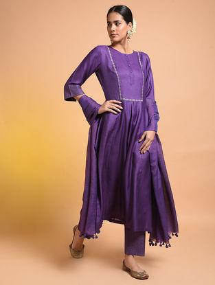 Purple Embroidered Silk Cotton Kurta