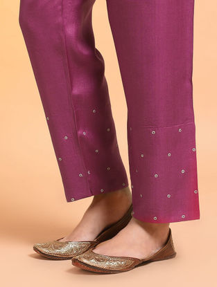 Pink Embroidered Tie-up Waist Silk Cotton Pants