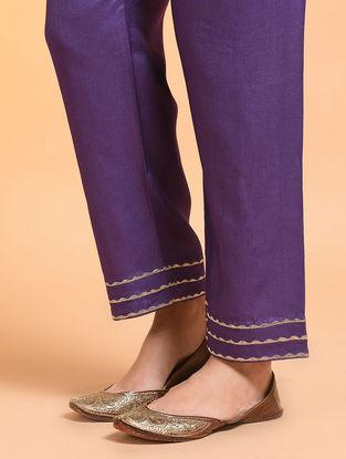 Purple Embroidered Tie-up Waist Silk Cotton Pants