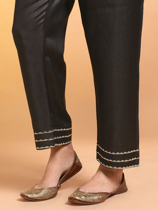 Black Embroidered Tie-up Waist Silk Cotton Pants