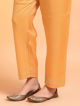 Yellow Embroidered Tie-up Waist Silk Cotton Pants