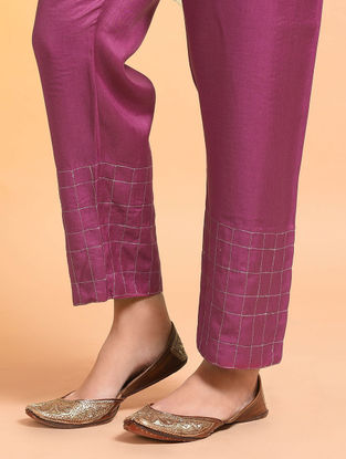 Pink Embroidered Tie-up Waist Silk Cotton Pants