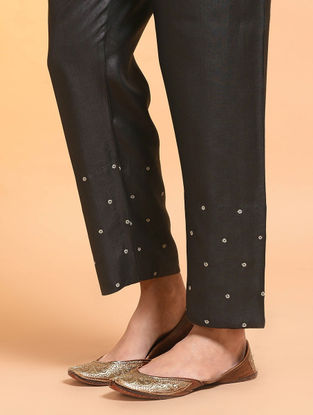 Black Embroidered Tie-up Waist Silk Cotton Pants