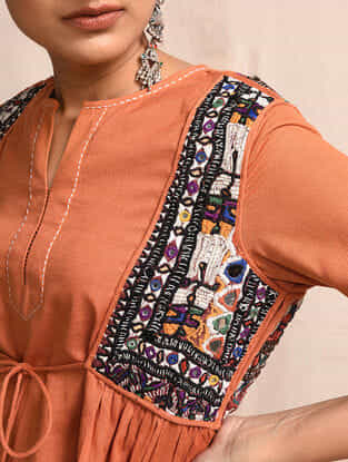Orange Cotton Kurta with Rabari Embroidered Yoke