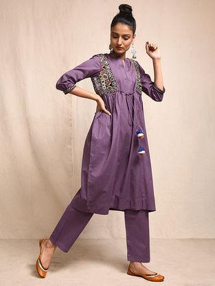 Purple Cotton Kurta with Rabari Embroidered Yoke