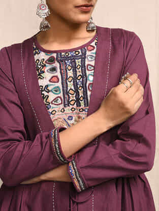 Wine Cotton Kurta with Rabari Embroidered Yoke