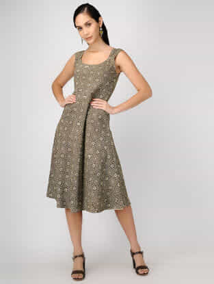 Brown-Grey Ajrakh-printed Reversible Cotton Dress