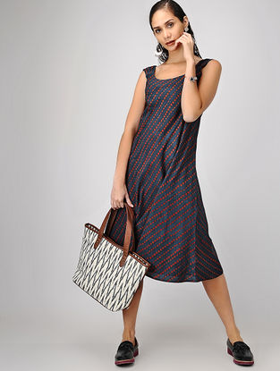Indigo-Madder Ajrakh-printed Reversible Cotton Dress