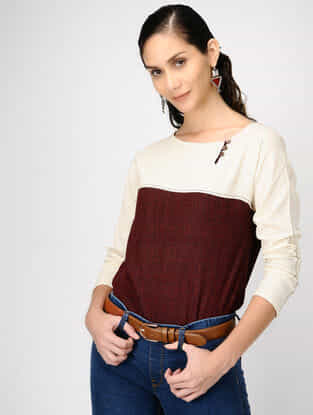 Ivory-Madder Cotton Top