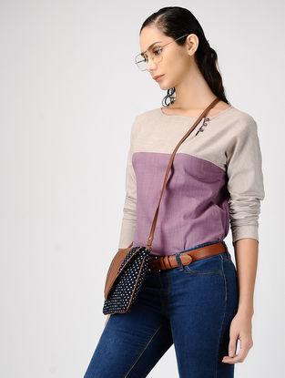 Beige-Purple Cotton Top