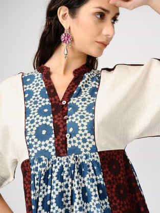 Multicolor Ajrakh-printed Cotton Dress with Gathers