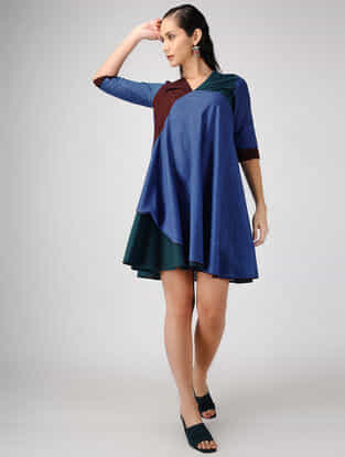Blue-Red Cotton Dress