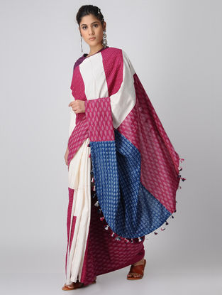 Indigo-Pink Handloom Cotton Ikat Constructed Saree with Tassels by Jaypore
