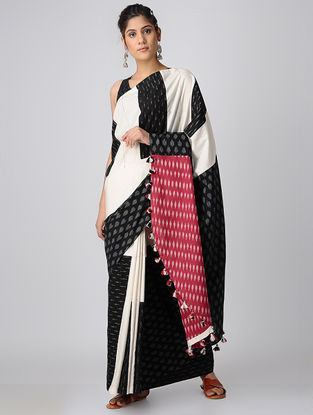 Black-Red Handloom Cotton Ikat Constructed Saree with Tassels by Jaypore