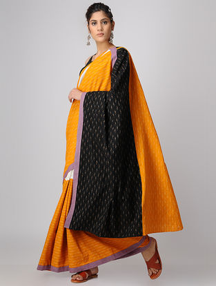 Mustard-Black Handloom Cotton Ikat Constructed Saree by Jaypore