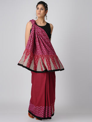 Pink-Red Handloom Cotton Ikat Constructed Saree by Jaypore