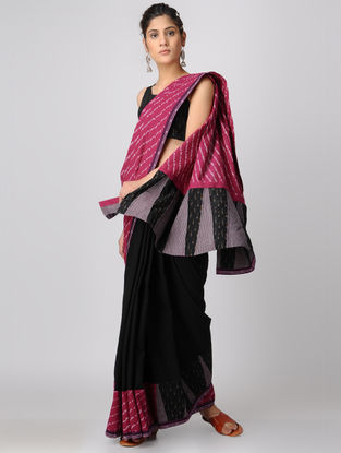 Black-Pink Handloom Cotton Ikat Constructed Saree by Jaypore