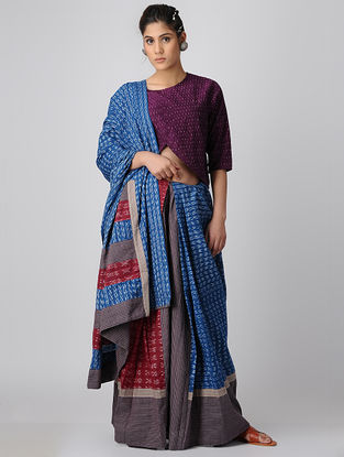 Indigo-Grey Handloom Cotton Ikat Constructed Saree by Jaypore