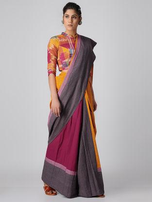 Mustard-Grey Handloom Cotton Ikat Constructed Saree by Jaypore