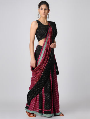 Black-Red Handloom Cotton Ikat Constructed Saree by Jaypore