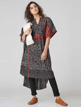 Black-Madder Natural-dyed Ajrakh Cotton Kurta with Gathers