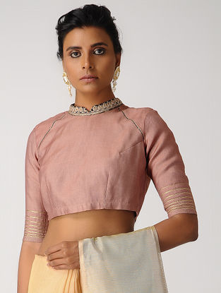 Old Rose Hand-embroidered Silk Cotton Blouse with Gota