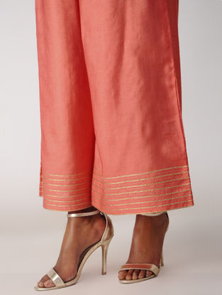 Orange Elasticated-waist Silk Cotton Palazzos with Gota
