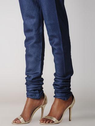 Blue Elasticated-waist Silk Cotton Churidar