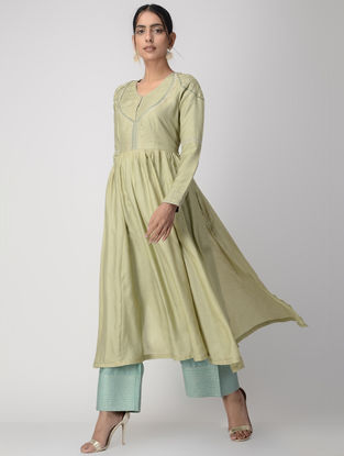 Green Zari-embroidered Silk Cotton Kurta with Gathers