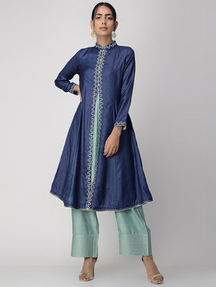 Blue-Teal Zari-embroidered Silk Cotton Jacket with Slip (Set of 2)
