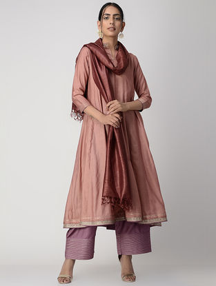 Brown Zari-embroidered Silk Cotton Kalidar Kurta