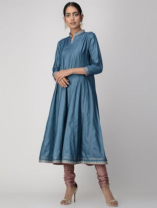 Blue Zari-embroidered Silk Cotton Kalidar Kurta