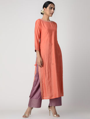 Orange Zari-embroidered Silk Cotton Kurta with Tassels