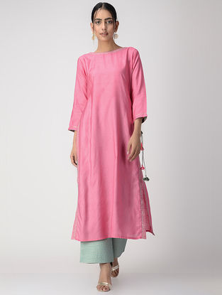 Pink Zari-embroidered Silk Cotton Kurta with Tassels
