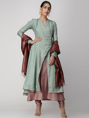 Green-Mauve Zari-embroidered Silk Cotton Jacket with Dress (Set of 2)